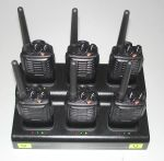 Rental walkie-talkie radios on 6-slot charger