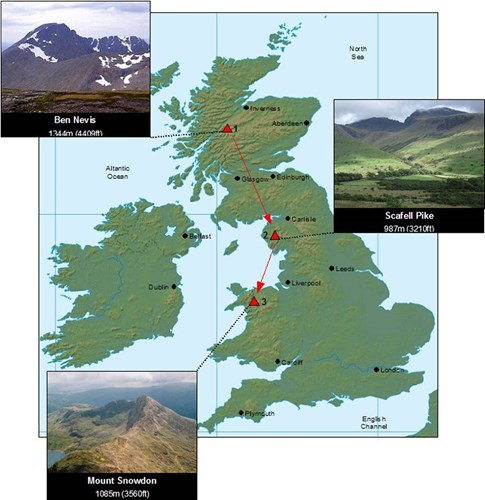 Three Peaks Challenge Map