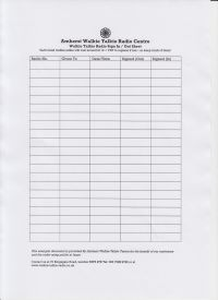 Example hired radio sign-out sheet